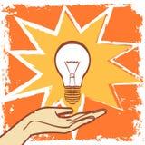 Vecteur d'ampoule dans le style de vintage de hippie d'art de bruit ENV 10 sur des couches pour vous soulagent Images stock