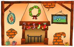 vecteur d'arbre d'illustration de format de cheminée de fichier des couples eps8 de Noël de dessin animé de fond d'AI Image stock