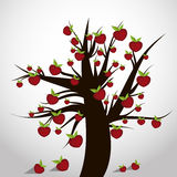 vecteur d'arbre de symbole d'amour d'illustration de coeurs Images libres de droits