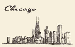 Vecteur d'architecture de ville d'horizon de Chicago dessiné Image stock