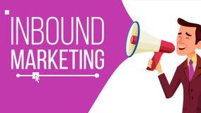 Vecteur d'arrivée de bannière de vente La publicité d'affaires Mâle avec le mégaphone CTA, email, page de débarquement, Analytics Image stock