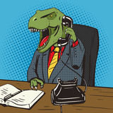 Vecteur d'art de bruit de téléphone d'entretiens d'homme d'affaires de dinosaure Image stock