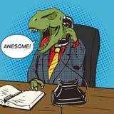 Vecteur d'art de bruit de téléphone d'entretiens d'homme d'affaires de dinosaure illustration de vecteur