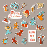 Vecteur d'autocollants de Noël Affiche réglée de Noël Image stock