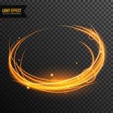 Vecteur d'effet de la lumière transparent avec la ligne remous et étincelles d'or illustration de vecteur