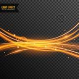 Vecteur d'effet de la lumière transparent avec la ligne remous et étincelles d'or illustration libre de droits
