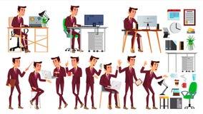 Vecteur d'employé de bureau Émotions de visage, divers gestes Homme d'affaires Human Employé moderne de Cabinet, ouvrier, travail illustration de vecteur