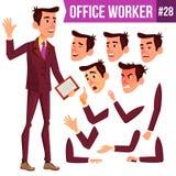 Vecteur d'employé de bureau Émotions de visage, divers gestes Homme d'affaires Person Exécutif de sourire, employé, ouvrier, diri Photos stock
