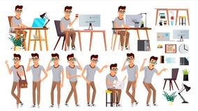 Vecteur d'employé de bureau Émotions de visage, divers gestes Humain d'affaires E plat Images libres de droits