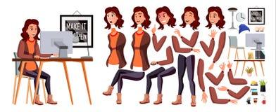 Vecteur d'employé de bureau Femme Commis heureux, employé, employé Humain d'affaires Émotions de visage, divers gestes animation illustration libre de droits
