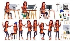 Vecteur d'employé de bureau Femme Dirigeant réussi, commis, employé Travailleuse d'affaires Émotions de visage, divers gestes Images libres de droits
