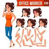 Vecteur d'employé de bureau Femme Employé moderne, travailleur Travailleur d'affaires Émotions de visage, divers gestes animation illustration de vecteur