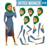 Vecteur d'employé de bureau Femme Employé de sourire, dirigeant Homme d'affaires Human Madame Face Emotions, divers gestes illustration stock