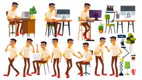 Vecteur d'employé de bureau Thaïlandais, vietnamien Émotions de visage, gestes Éléments animés poses Dans l'action Affaires adult Image libre de droits