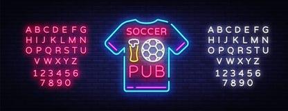 Vecteur d'enseigne au néon de bar du football Néon de logo de bar du football, concept de T-shirt, enseigne légère, panneau d'aff Photos stock