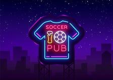 Vecteur d'enseigne au néon de bar du football Néon de logo de bar du football, concept de T-shirt, enseigne légère, panneau d'aff Images stock