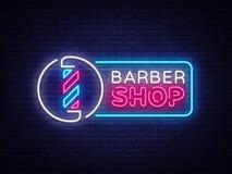 Vecteur d'enseigne au néon de Barber Shop Enseigne au néon de calibre de Barber Shop Design, bannière légère, enseigne au néon, l Illustration de Vecteur