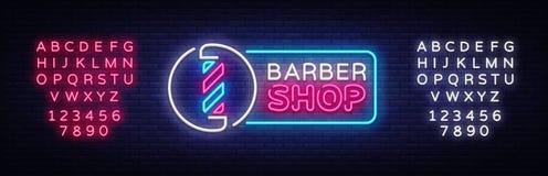 Vecteur d'enseigne au néon de Barber Shop Enseigne au néon de calibre de Barber Shop Design, bannière légère, enseigne au néon, l Illustration Stock