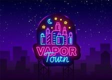 Vecteur d'enseigne au néon de boutique de Vape Magasin Logo Emblem Neon, sa ville de vapeur de concept de boutique de Vape, tabag Illustration de Vecteur