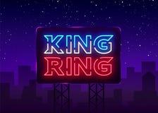 Vecteur d'enseigne au néon de club de combat Le roi du logo au néon de symbole d'anneau, élément de conception la nuit lutte, ban Photos libres de droits