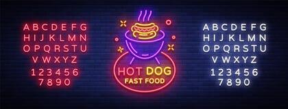 Vecteur d'enseigne au néon de hot-dog Calibre au néon de conception de style de logo de hot-dog, emblème au néon de nuit, bannièr illustration libre de droits