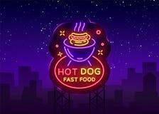 Vecteur d'enseigne au néon de hot-dog Logo de hot-dog dans le calibre au néon de conception de style, emblème au néon de nuit, ba Image stock