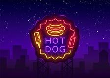 Vecteur d'enseigne au néon de hot-dog Logo de hot-dog dans le calibre au néon de conception de style, emblème au néon de nuit, ba illustration stock