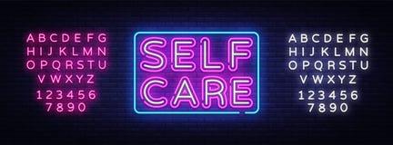 Vecteur d'enseigne au néon de soin d'individu Bon enseigne au néon de calibre de conception de sensation de motivation, bannière  illustration de vecteur