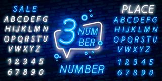 Vecteur d'enseigne au néon de symbole du numéro trois Troisièmement, icône au néon de calibre du numéro trois, bannière légère, e image stock