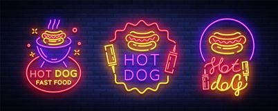Vecteur d'enseignes au néon de collection de hot-dog Les logos réglés de hot-dog dans le style au néon conçoivent le calibre, emb Photo libre de droits