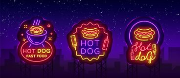Vecteur d'enseignes au néon de collection de hot-dog Les logos réglés de hot-dog dans le style au néon conçoivent le calibre, emb illustration libre de droits