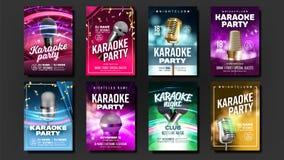 Vecteur d'ensemble d'affiche de karaoke Mic Design Bannière de disco Amusement de roche signe vocal Annonce de médias Exposition  illustration de vecteur