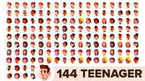 Vecteur d'ensemble d'avatar d'adolescent Fille, type Racial multi Faites face aux émotions Portrait multinational de personnes d' illustration de vecteur