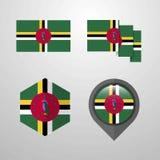Vecteur d'ensemble de conception de drapeau de la Dominique illustration stock
