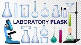 Vecteur d'ensemble de flacon de laboratoire Verre chimique Becher, Essai-tubes, microscope Équipement vide pour des expériences d illustration libre de droits