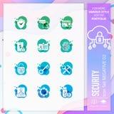 Vecteur d'ensemble d'icône de sécurité avec le négatif sur le concept coloré Icône d'affaires pour l'élément de site Web, appli,  illustration stock