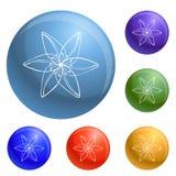 Vecteur d'ensemble d'icônes de fleur sauvage illustration de vecteur