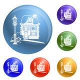 Vecteur d'ensemble d'icônes de maison en bois illustration libre de droits