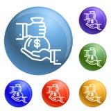 Vecteur d'ensemble d'icônes de sac d'argent illustration de vecteur