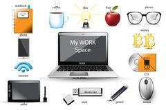 Vecteur d'espace de travail L'ordinateur, usb, carnet, verres, bureau usine des éléments Illustrations de calibre d'icônes illustration stock