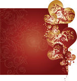 Vecteur d'or et rouge de fond de coeurs Image stock