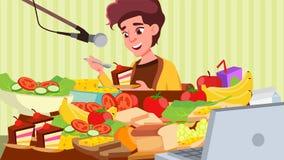 Vecteur d'exposition de consommation de Mukbang Fille Cuisson de beaucoup de nourriture Media social coréen Illustration illustration de vecteur
