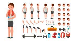 Vecteur d'homme de forme physique Athlète animé Character Creation Set Intégral, avant, côté, vue arrière, accessoires, pose illustration libre de droits