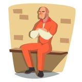 Vecteur d'homme de prisonnier Homme criminel arrêté et verrouillé Illustration plate d'isolement de personnage de dessin animé Photos stock