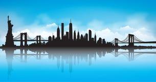 Vecteur d'horizon de New York City de ciel bleu illustration de vecteur