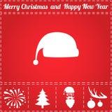 Vecteur d'icône de chapeau du ` s de Santa Photographie stock libre de droits