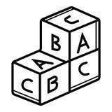 Vecteur d'icône de cubes en alphabet illustration stock