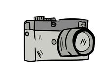 Vecteur d'icône de griffonnage d'appareil-photo avec le fond blanc Photos libres de droits