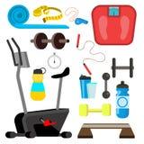 Vecteur d'icônes de forme physique Simulateur, échelles, haltère, accessoires d'équipement de gymnase Illustration plate d'isolem illustration libre de droits