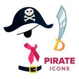Vecteur d'icônes de pirate Accessoires chapeau, épée Illustration plate d'isolement de bande dessinée illustration libre de droits